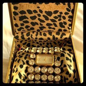 💎💎💎 Betsey Johnson Crystal Watch Bracelet